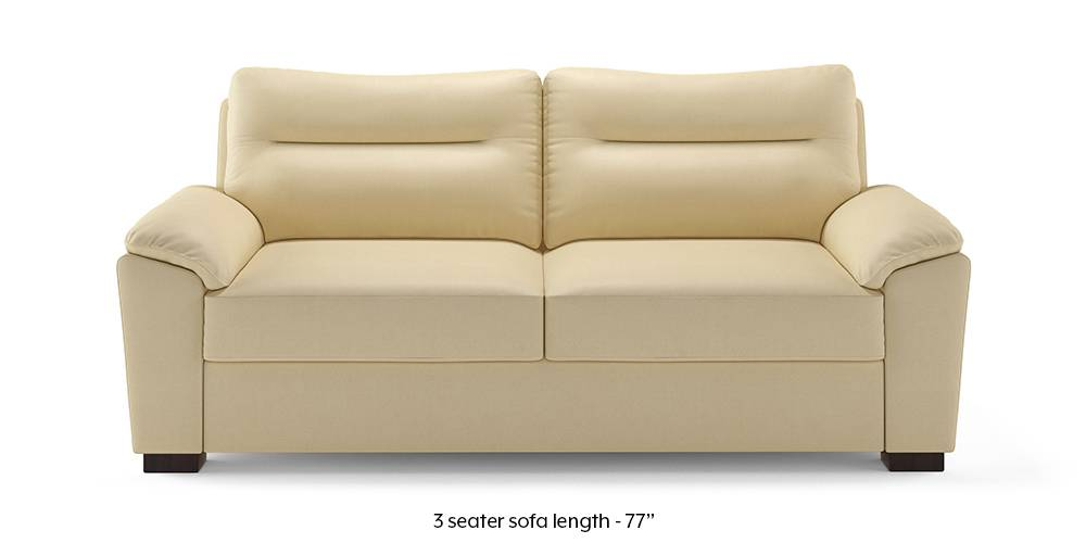 Adelaide Leatherette Sofa (Cream) (Cream, 1-seater Custom Set - Sofas, None Standard Set - Sofas, Leatherette Sofa Material, Compact Sofa Size, Soft Cushion Type, Regular Sofa Type) by Urban Ladder