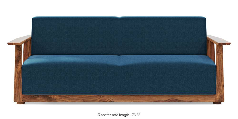 Serra Wooden Sofa - Teak Finish (Cobalt Blue) by Urban Ladder