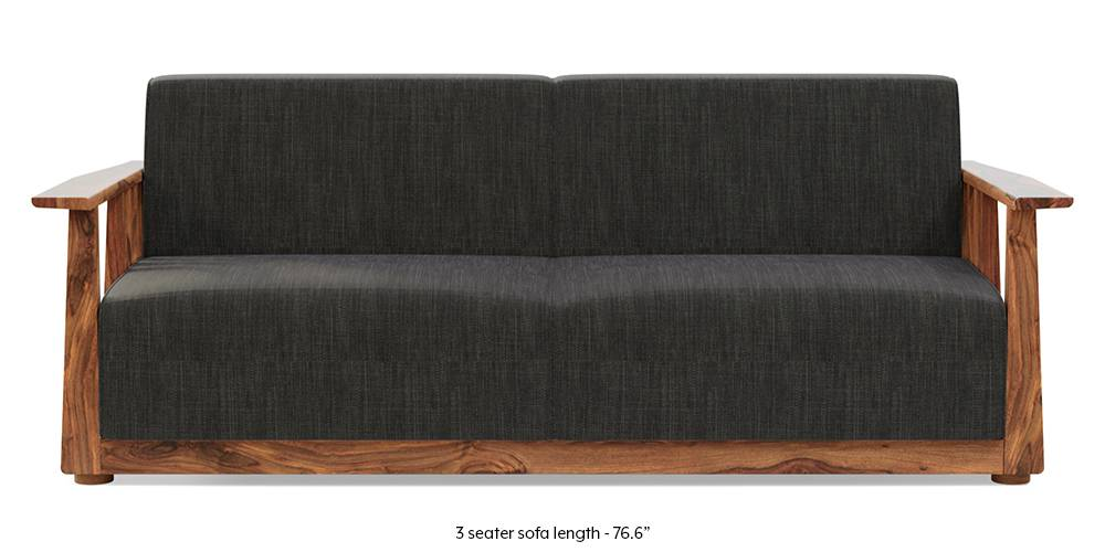 Serra Wooden Sofa - Teak Finish (Graphite Grey) by Urban Ladder