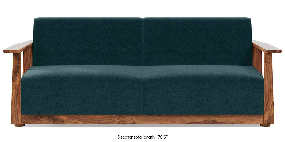 newSerra Wooden Sofa - Teak Finish (Malibu Blue) by Urban Ladder