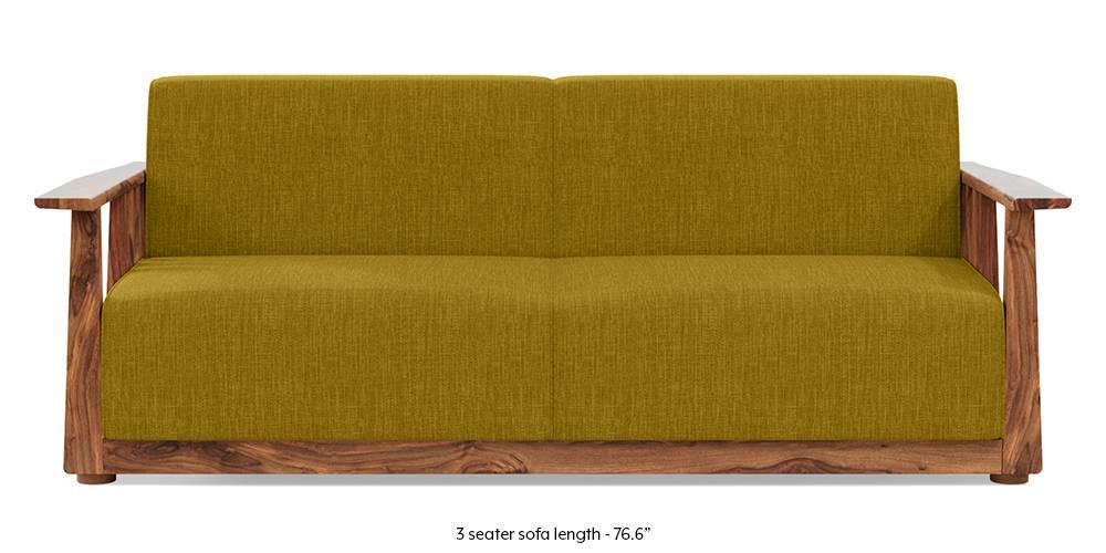 Serra Wooden Sofa - Teak Finish (Olive Green) (1-seater Custom Set - Sofas, None Standard Set - Sofas, Olive, Fabric Sofa Material, Regular Sofa Size, Soft Cushion Type, Regular Sofa Type) by Urban Ladder