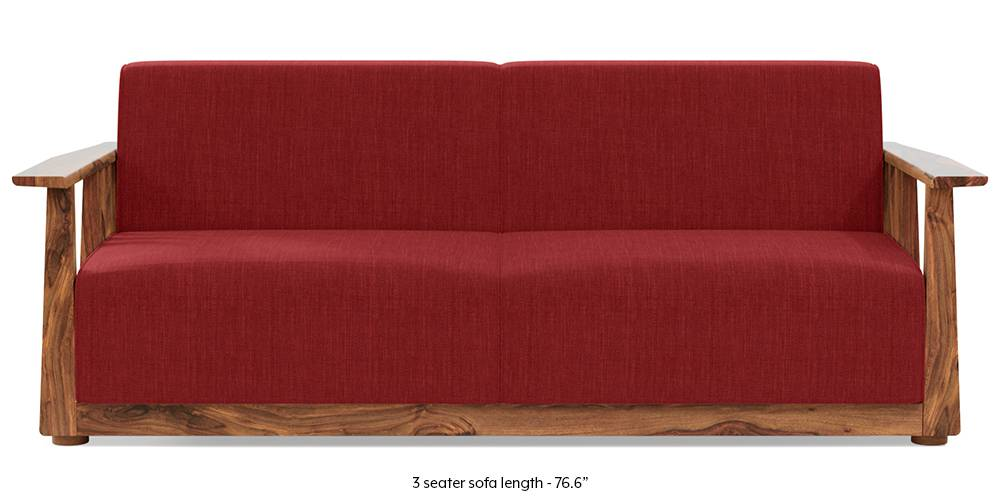 Serra Wooden Sofa - Teak Finish (Salsa Red) by Urban Ladder