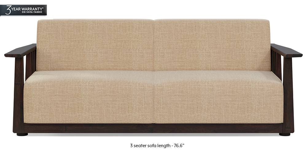 Serra Wooden Sofa - Mahogany Finish (Sandshell Beige) (3-seater Custom Set - Sofas, None Standard Set - Sofas, Fabric Sofa Material, Regular Sofa Size, Soft Cushion Type, Regular Sofa Type, Sandshell Beige) by Urban Ladder