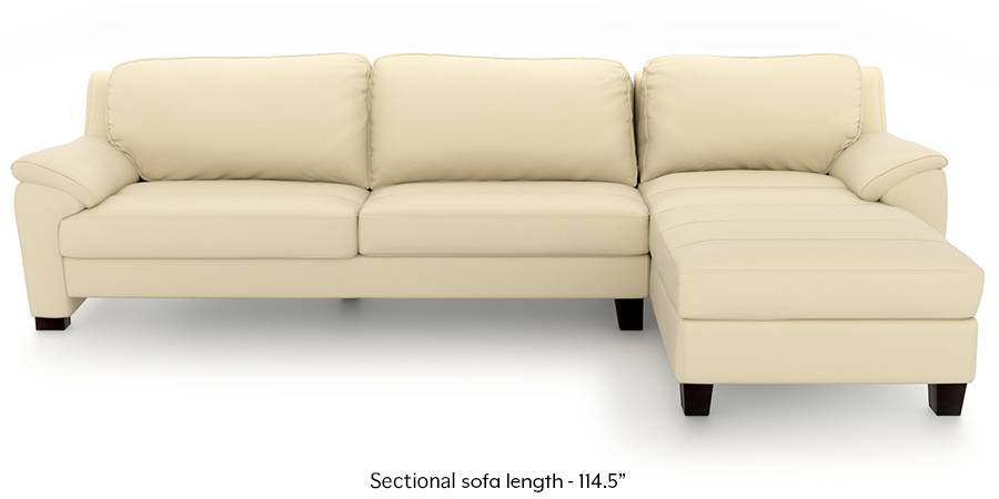 Farina Half Leather Sectional Sofa (Cream Italian Leather) (Cream, Regular Sofa Size, Sectional Sofa Type, Leather Sofa Material) by Urban Ladder