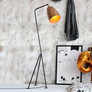 Melman Floor Lamp (Black Base Finish, Barrel Shade Shape, Copper Shade Color)