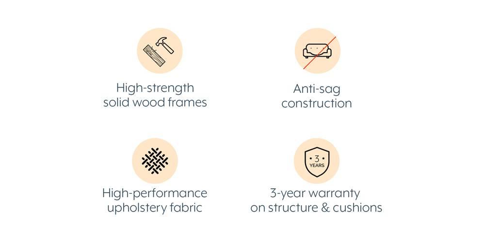 Florence Compact Sofa (Malibu) (3-seater Custom Set - Sofas, None Standard Set - Sofas, Fabric Sofa Material, Compact Sofa Size, Malibu, Regular Sofa Type) by Urban Ladder