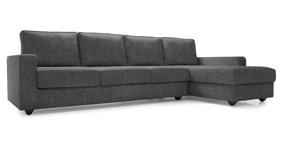 Apollo Sectional Sofa (Smoke Grey) (Smoke, Fabric Sofa Material, Regular Sofa Size, Sectional Sofa Type) by Urban Ladder