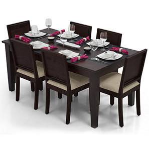 Oliver - Oribi 6 Seater Storage Dining Table Set (Mahogany Finish, Wheat Brown)
