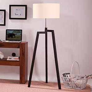 Tangent Floor Lamp (Mahogany Base Finish, Drum Shade Shape, White Shade Color)