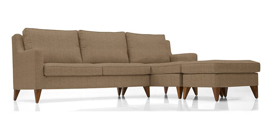 Greenwich Sectional Sofa (Dune Brown) (Dune, Fabric Sofa Material, Regular Sofa Size, Sectional Sofa Type) by Urban Ladder