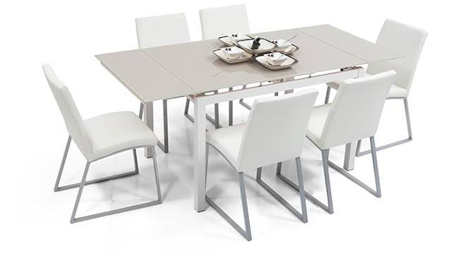 Lucerne 4 to 6 Extendable Delphine 6 Seater Dining Table  : LucerneExtendableDiningTableWhite01IMG0032 from www.urbanladder.com size 666 x 363 jpeg 29kB