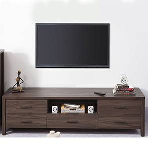 Norland TV Unit (Dark Walnut Finish, Large Size, Without Glass Configuration)