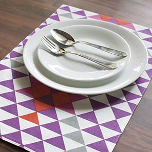 "Nias Table Mat Set of Six (Purple, 12"" x 18"" Table Linen Size)"