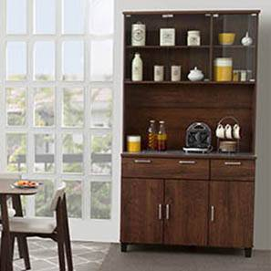 Portland 84 Tall 6 Door Kitchen Cabinet Walnut Finish