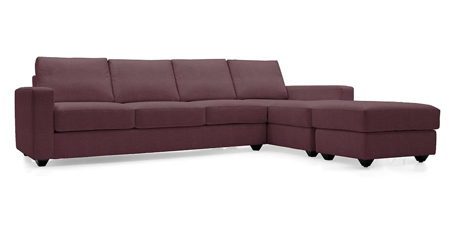 Apollo Sectional Leatherette Sofa (Burgundy) (Burgundy, Leatherette Sofa Material, Regular Sofa Size, Sectional Sofa Type) by Urban Ladder