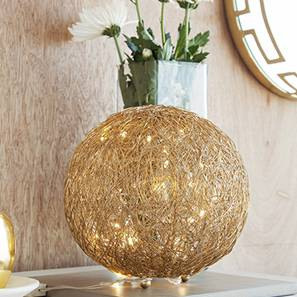 Aurum Table Lamp (Shiny Nickel Base Finish, Gold Shade Color, Round Shade Shape)