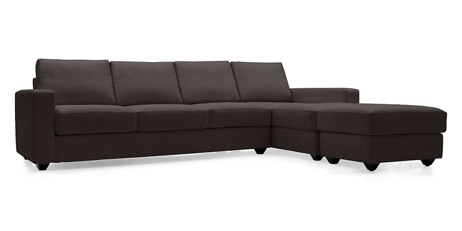 Apollo Sectional Leatherette Sofa (Chocolate) (Chocolate, Leatherette Sofa Material, Regular Sofa Size, Sectional Sofa Type) by Urban Ladder