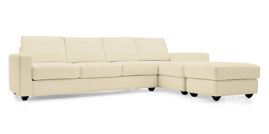 Apollo Sectional Leatherette Sofa (Cream) (Cream, Leatherette Sofa Material, Regular Sofa Size, Sectional Sofa Type) by Urban Ladder