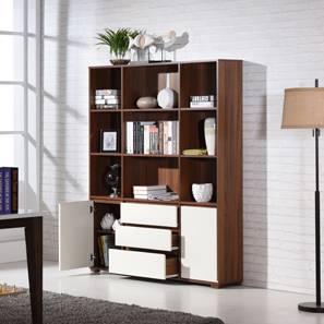 Iwaki Bookshelf (Walnut Finish, 3 Drawer 2 Cabinet Configuration)