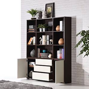 Iwaki Bookshelf (Dark Walnut Finish, 3 Drawer 2 Cabinet Configuration)