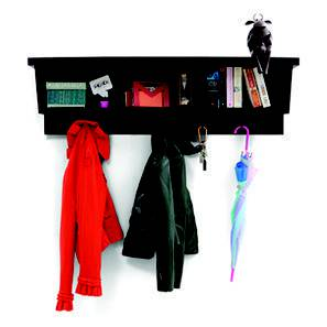 Striado Coat Rack and Shelf (Mahogany Finish)