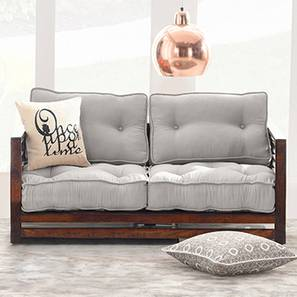 Raymond Low Wooden Sofa 2 Seater (Walnut Finish, Grey)