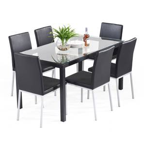 Lomond lupo 6 seater glass top dining table set urban Glass dining table set