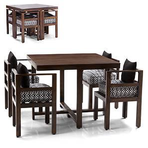 Kivaha Dining Table Set (Walnut Finish, Black)