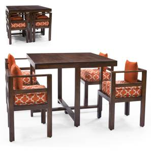 kivaha dining table set walnut finish morocco lattice rust