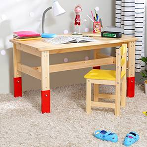Karu Kids' Study Table (Red, Natural Finish)
