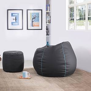 Baggo Leatherette Beanbag Lounge Set (Black, Large Size, With Beans Variant)