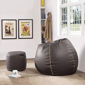 Baggo Leatherette Beanbag Lounge Set (Brown, Large Size, With Beans Variant)
