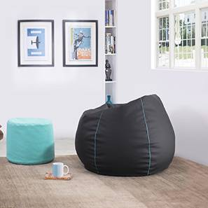 Baggo Leatherette Beanbag Lounge Set (Large Size, Without Beans Bags, Black & Teal)