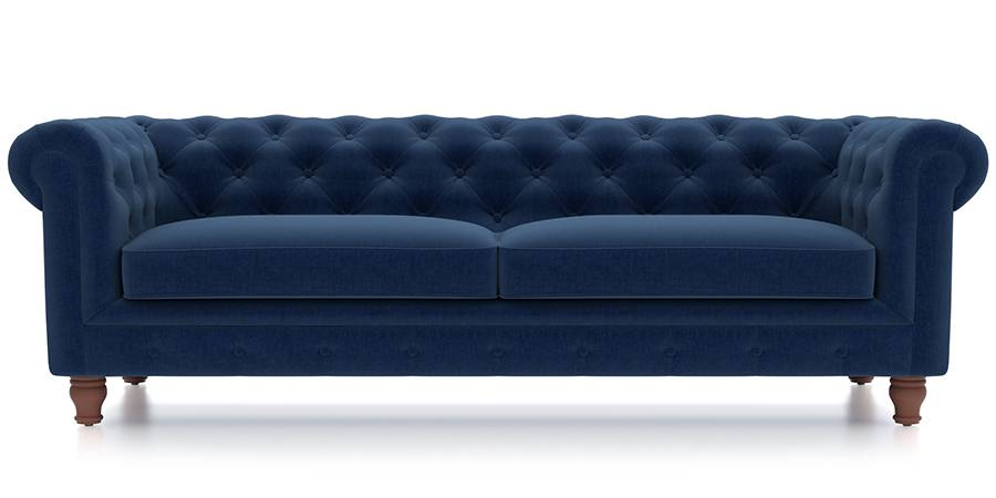 Winchester Fabric Sofa (Cobalt Blue) (Cobalt, Fabric Sofa Material, Regular Sofa Size, Regular Sofa Type) by Urban Ladder