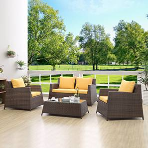 Samui Patio Set With Table (2-1-1) (Brown Finish)