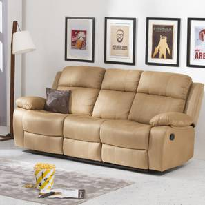 Robert Three Seater Recliner Sofa (Sand Brown Fabric)