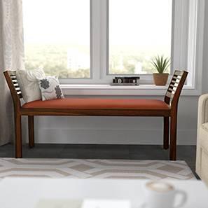Latt Upholstered Bench (Teak Finish, With Amber Upholstery Configuration)