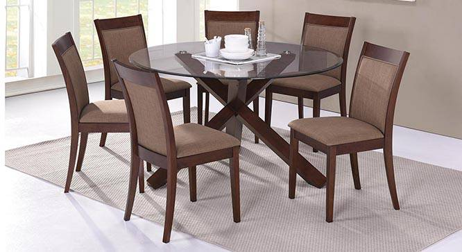 seater round glass top dining table set matheson dalla 6 seater