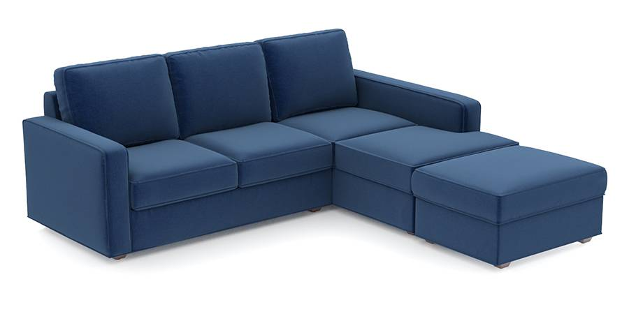 Apollo Sofa Set (Cobalt, Fabric Sofa Material, Regular Sofa Size, Soft Cushion Type, Sectional Sofa Type, Sectional Master Sofa Component) by Urban Ladder