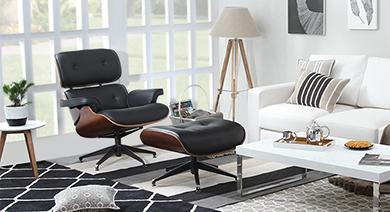 1956 lounge   ottoman replica black 01 2
