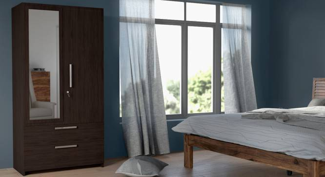 Domenico Wardrobe (Two Door, Yes Mirror, With Drawer Configuration) by Urban Ladder