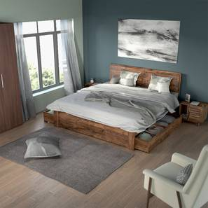 Terence Storage Essential Bedroom Set (Teak Finish, Queen Bed Size) by Urban Ladder