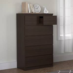 Bocado Tall Chest Of Drawers (Dark Walnut Finish, 6 Drawer Configuration) by Urban Ladder
