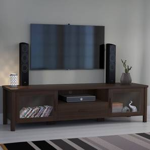 "Norland 63"" TV Unit (Dark Walnut Finish, With Glass Configuration) by Urban Ladder"