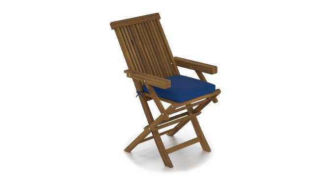 Balinae Folding Patio Armchair (Blue, Natural Acacia Finish) by Urban Ladder