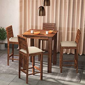 Arabia - Oribi 4 Seater High Dining Table Set (Teak Finish, Wheat Brown)