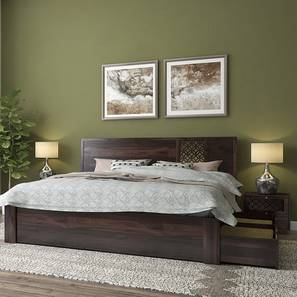 Alaca Storage Bed (Mahogany Finish, King Bed Size)