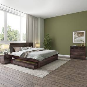Alaca Storage Master Bedroom Set (Mahogany Finish, King Bed Size) by Urban Ladder