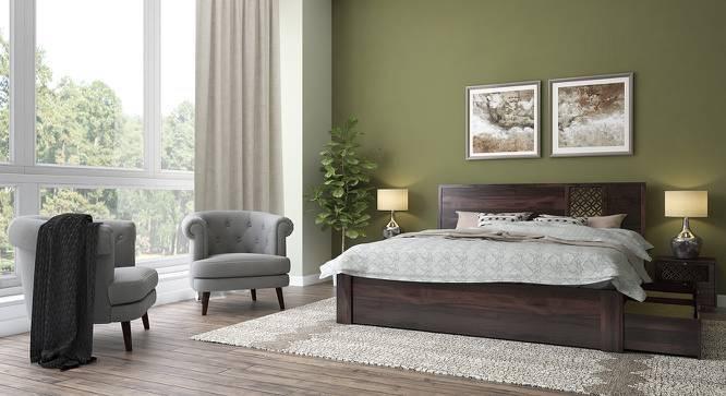 Alaca Storage Essential Bedroom Set (Mahogany Finish, King Bed Size) by Urban Ladder