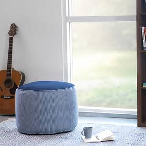 Baggo Round Stripes Pouffe (Blue, Large Size, Without Beans Variant) by Urban Ladder